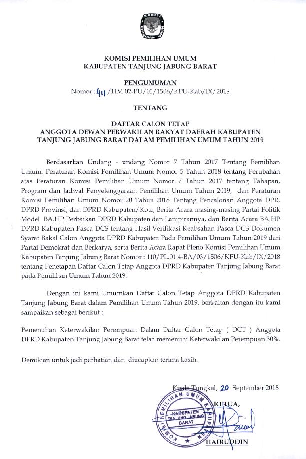 Daftar Calon Tetap Dct Anggota Dprd Kabupaten Tanjung Jabung Barat Dalam Pemilu Tahun 2019 Bidik Nasional